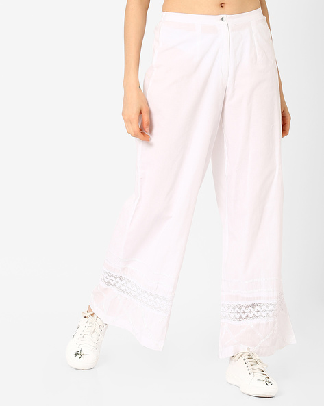 Cotton Palazzo Pants With Cut-Out Detail By Rain & Rainbow ( White )