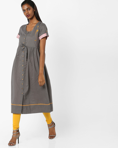 Flared Dress With Roll-Up Sleeves By AJIO ( Charcoal )