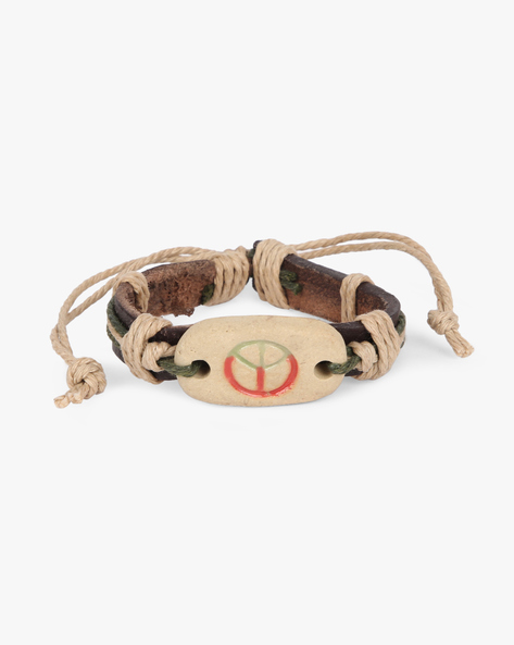 Bracelet With Metal Accent By ALPHA MAN ( Beige )