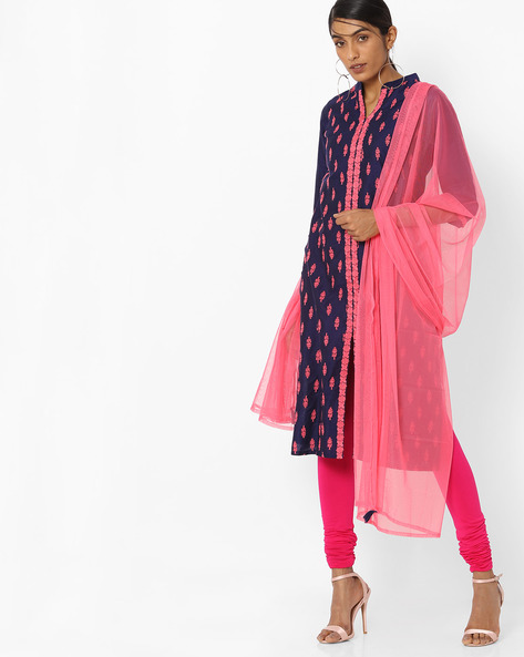 Embroidered Kurta With Dupatta By AVAASA SET ( Navy )