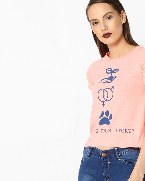 Graphic Print Cotton T-shirt By Alibi ( Pink )