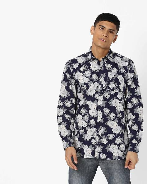 Floral Print Slim Fit Shirt By SHELTR ( Navy )
