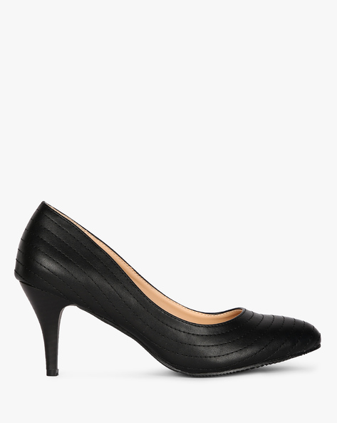 Pumps With Stitched Upper By AJIO ( Black )