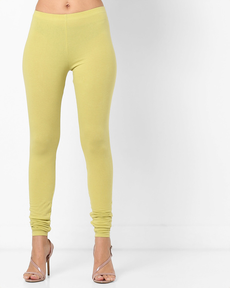 Churidar Leggings With Elasticated Waist By AJIO ( Lime )