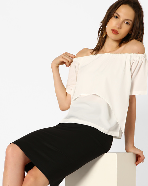 Off-Shoulder Layered Top By Blue Saint ( White )