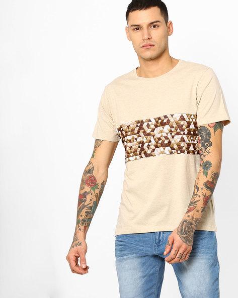 Geometric Print Cut & Sew T-shirt By AJIO ( Beige )