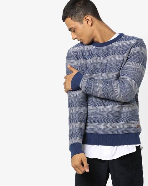 Striped Crew-Neck Pullover By US POLO ( Indigo )