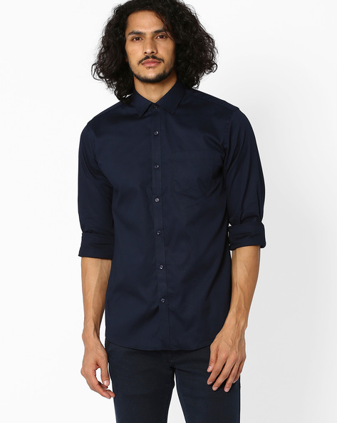 Slim Fit Shirt With Patch Pocket By Black Coffee ( Navyblue )