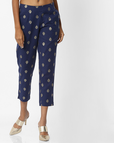 Printed Straight Pants With Insert Pockets By Melange By Lifestyle ( Navy )