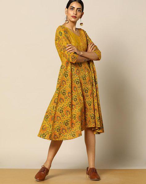 Ajrak Handblock Print Cotton Sleeveless Dress By Pilgrim ( Multi )