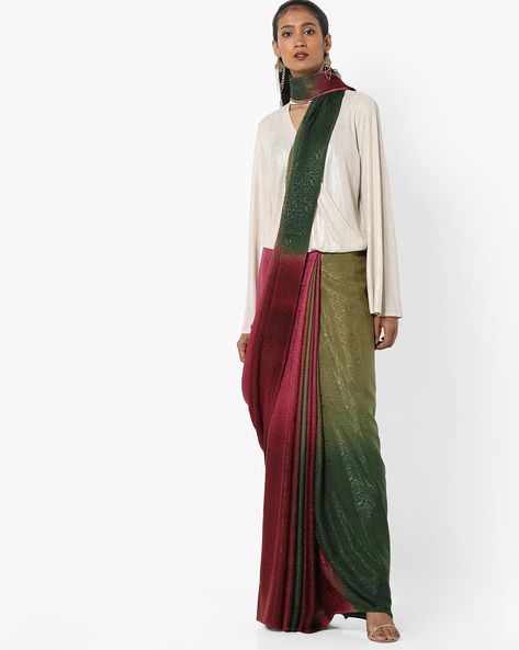 Ombre-Dyed Saree With Self Design By Florence ( Multi )