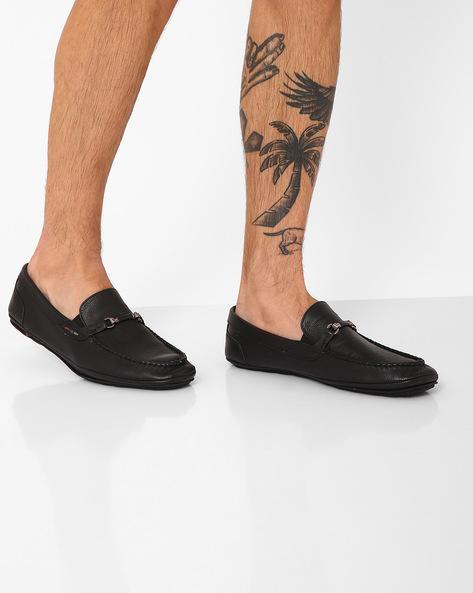 Genuine Leather Slip-Ons By TURN ( Black )