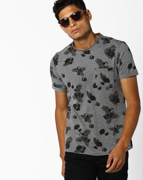 Floral Print Crew-Neck T-shirt By AJIO ( Darkgrey )