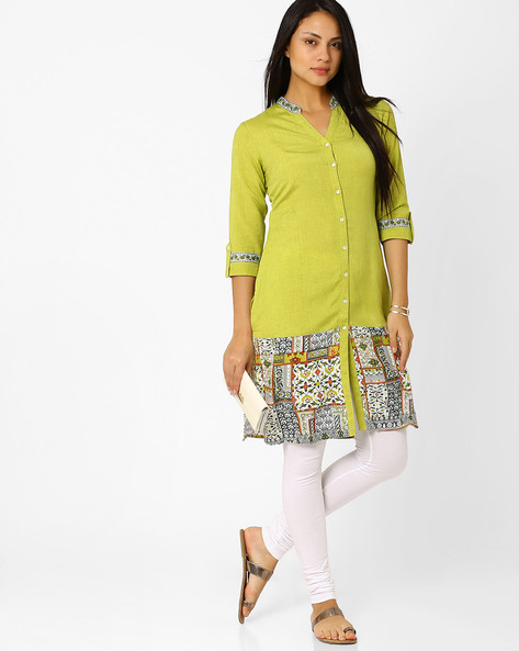 Printed Straight Kurta By AJIO ( Green )