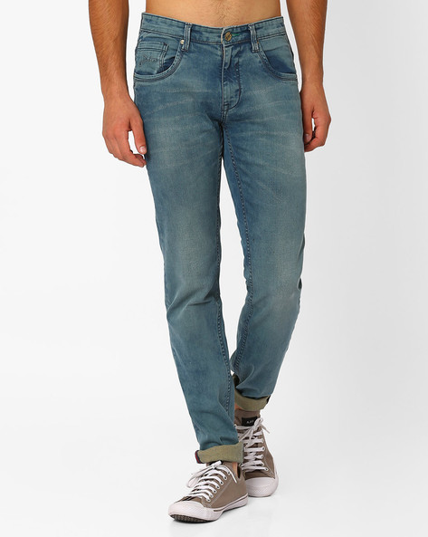 Lightly Washed Slim Fit Jeans By SIN ( Indigo ) - 460027290002