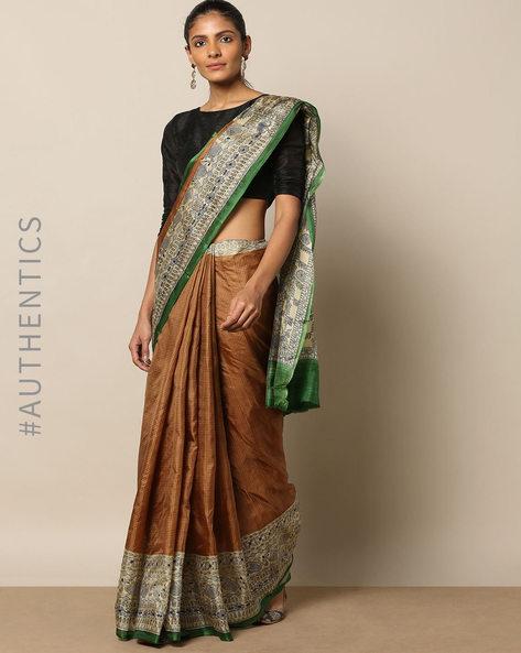Madhubani Print Pure Silk Saree By Rudrakaashe-MSU ( Beige )