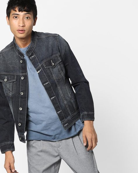 Denim Jacket With Band Collar By FLYING MACHINE ( Assorted )