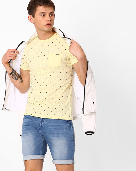 Slim Fit Printed Crew-Neck T-shirt By Killer ( Yellow )