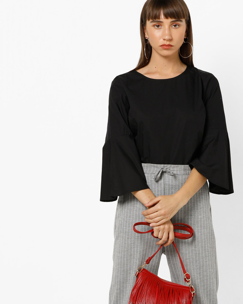Cotton Blouse Top With Bell Sleeves By Only ( Black )
