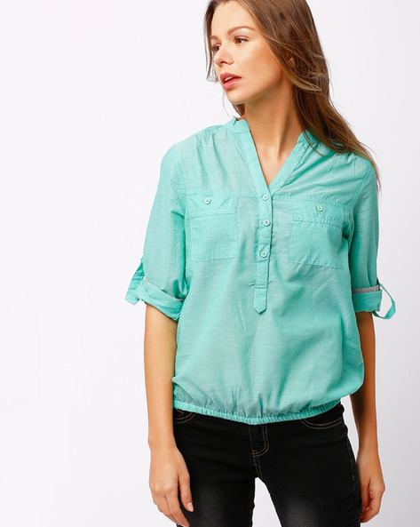 Shirt With Roll-Up Sleeve Tabs By FIG ( Green )
