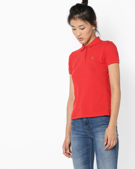 Polo T-shirt With Embroidered Branding By UNITED COLORS OF BENETTON ( Red )
