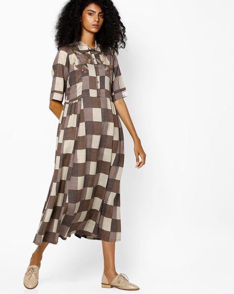 Checked Shirt Dress By AJIO ( Brown )