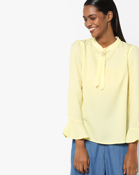 Top With Beaded Tie-Up By Sassafras ( Yellow )