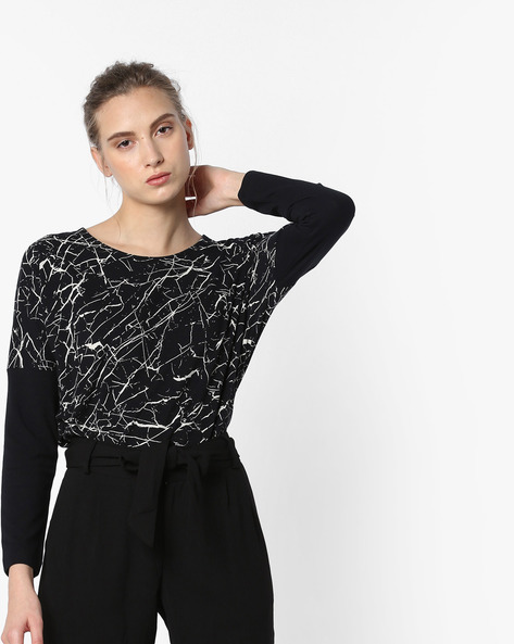 Abstract Print Top With Drop-Shoulder Sleeves By Project Eve WW Athleisure ( Black )