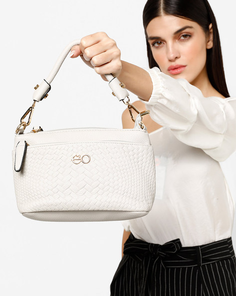 Textured Sling Bag With Detachable Strap By E2O ( White )