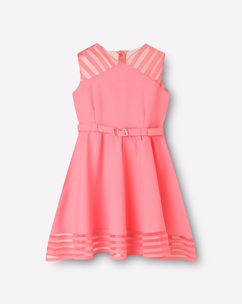 Sleeveless Skater Dress With Fabric Belt By Cutecumber Exclusive For Ajio ( Pink )