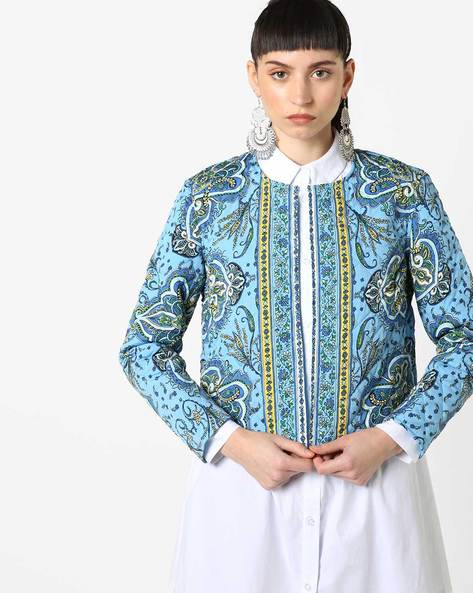 Floral Print Open-Front Jacket By Oxolloxo ( Blue )