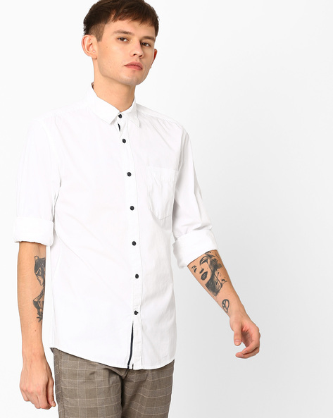 Poplin Cotton Shirt With Spread Collar By WRANGLER ( White )