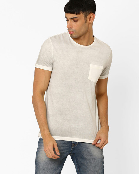 Vintage Washed T-shirt With Patch Pocket By AJIO ( Grey )