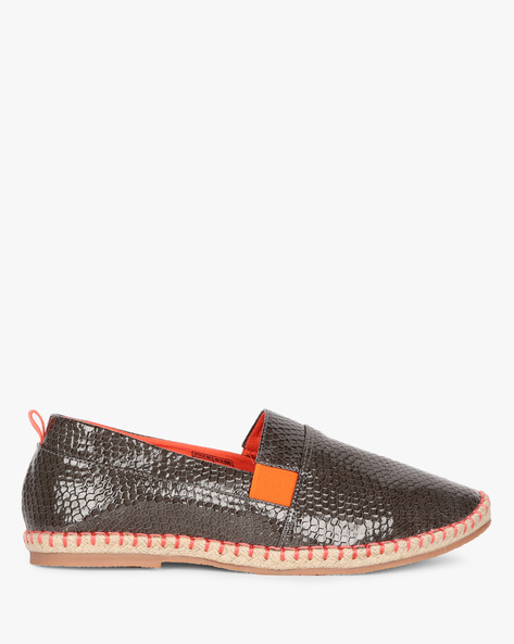 Textured Espadrilles With Inserts By AJIO ( Grey )