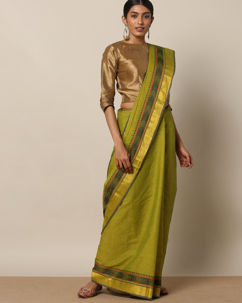Kanchi Cotton Saree With Woven Border By Indie Picks ( Green ) - 460164767001