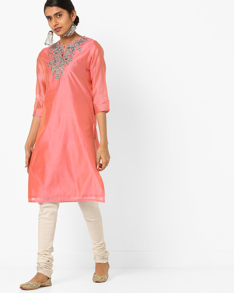 Chanderi Straight Kurta With Floral Embroidery By AJIO ( Rose )