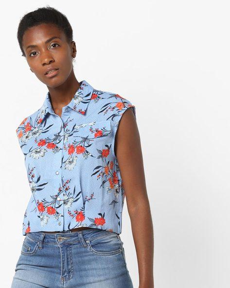 Floral Print Sleeveless Shirt By AJIO ( Lightblue )