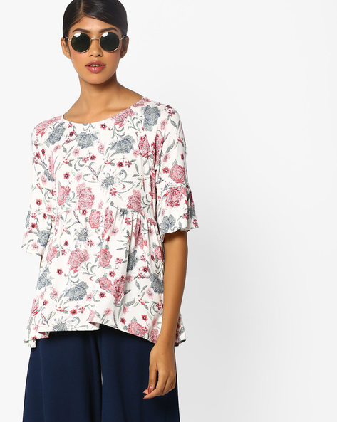 Floral Print Top With Bell Sleeves By AJIO ( White )
