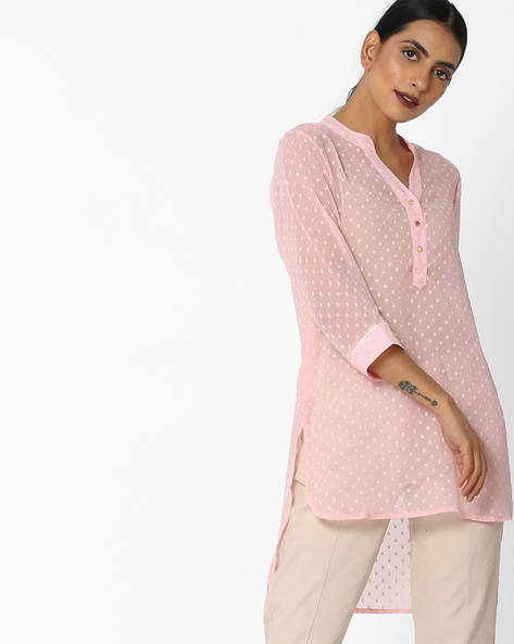 Textured Tunic With High-Low Hem By Arah ( Pink )