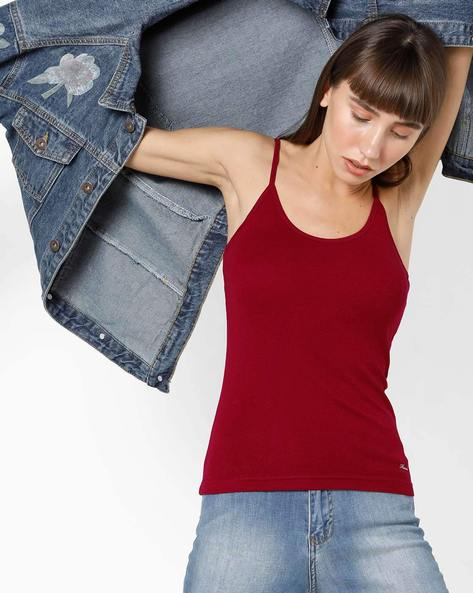 Cotton Camisole With Adjustable Straps By HANES ( Red )