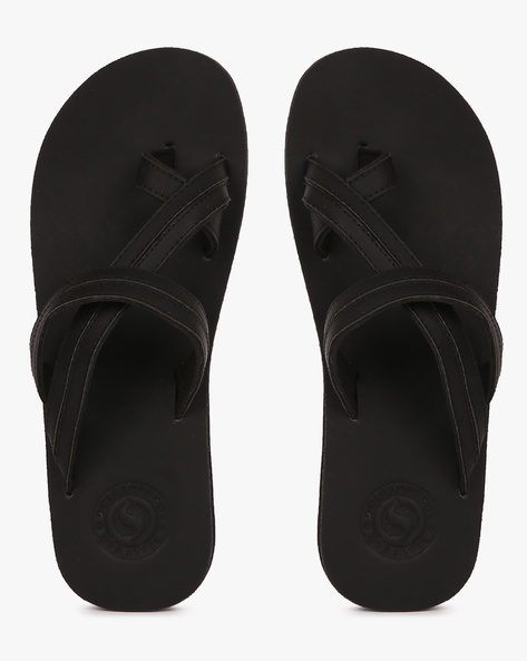 Toe-Ring Strappy Flip-Flops By Sole Threads ( Black )