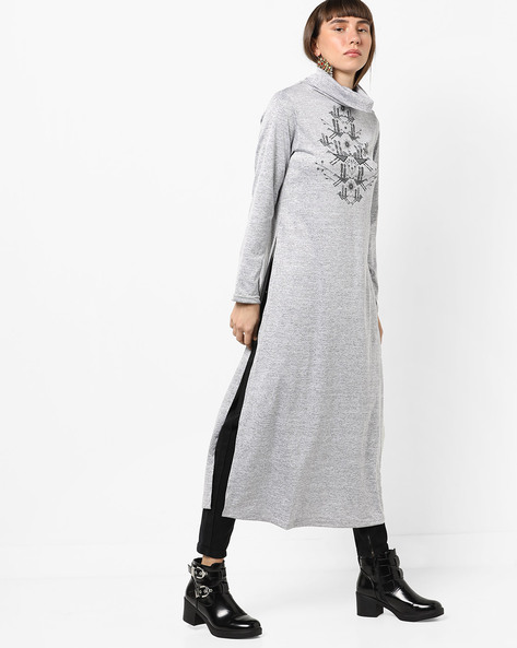 Printed Tunic With Turtle Neck By Global Desi ( Grey )