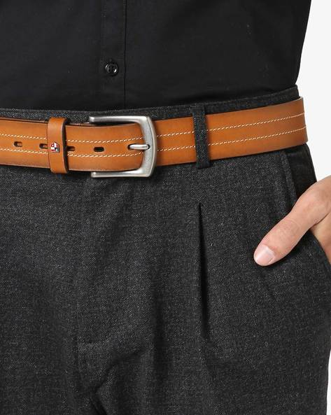 Leather Belt With Stitched Stripes By US POLO ( Brown )