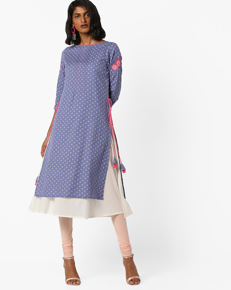Embroidered Layered Kurta With Tie-Ups By AJIO ( Blue )