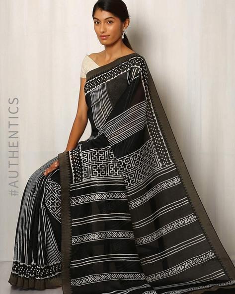 Patri Print Chanderi Saree With Ghicha Border By Indie Picks ( Black ) - 460016654001