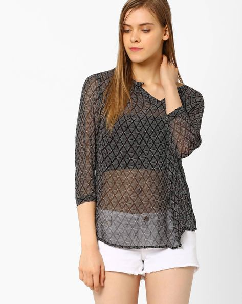 Printed Top With Buttoned Cuffs By CHM ( Black )