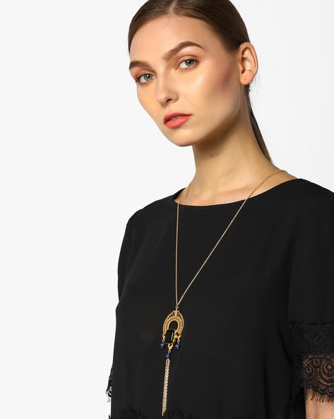 Tassel Necklace With Onyx Stone And Lapis Beads By Tvayaa Art ( Blueblack )