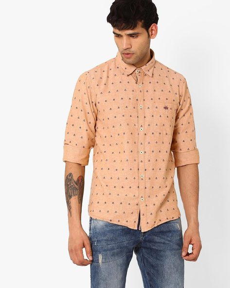 Slim Fit Printed Shirt By CRIMSOUNE CLUB ( Blue )