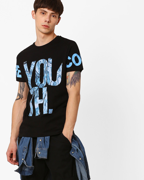Crew-Neck Graphic Print T-shirt By Jack & Jones ( Black )