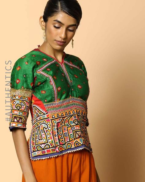 Kutch Embroidered Backless Blouse By Indie Picks ( Multi ) - 460103667001